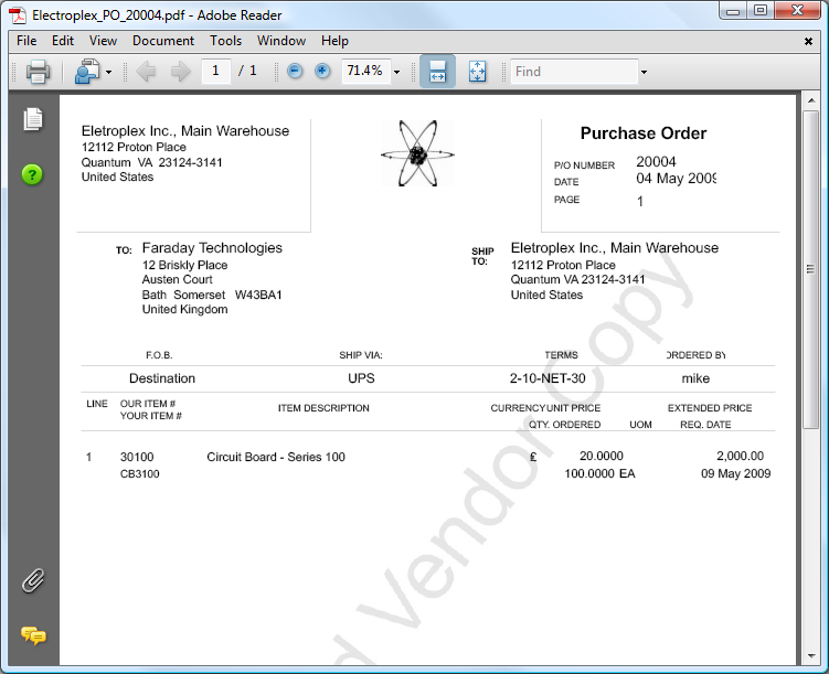 2  Emailing Purchase Orders
